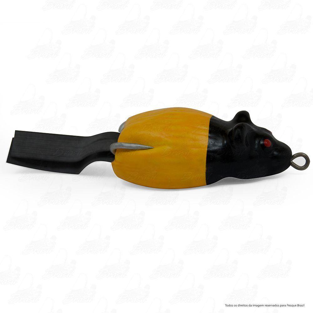 Isca Artificial Bad Rat Bad Line de Borracha com Anti Enrosco Cor BR02 Amarelo Cabeça Preta