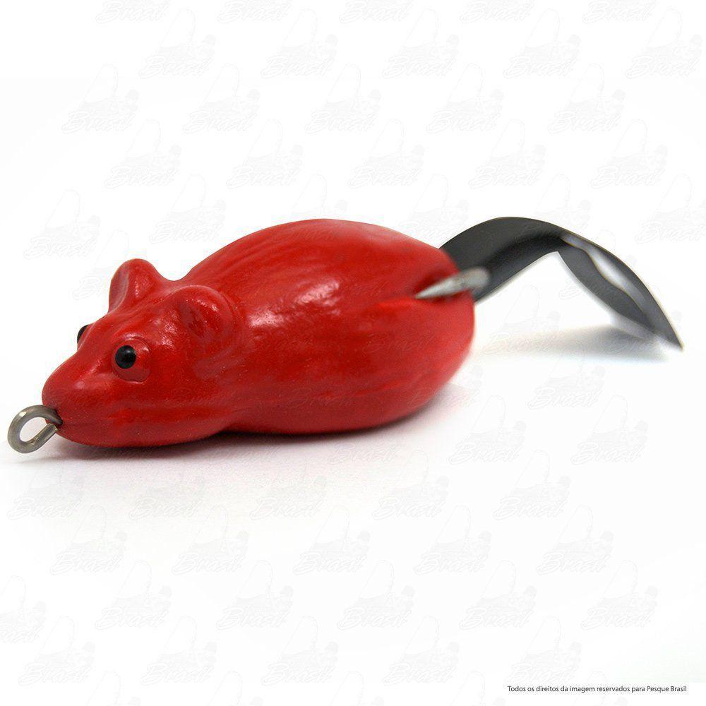 Isca Artificial Bad Rat Bad Line de Borracha com Anti Enrosco Cor BR03 Vermelho
