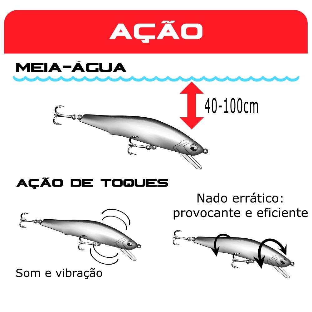 Isca Artificial Raptor Minnow 120 Marine Sports 12cm Peso 24,5g