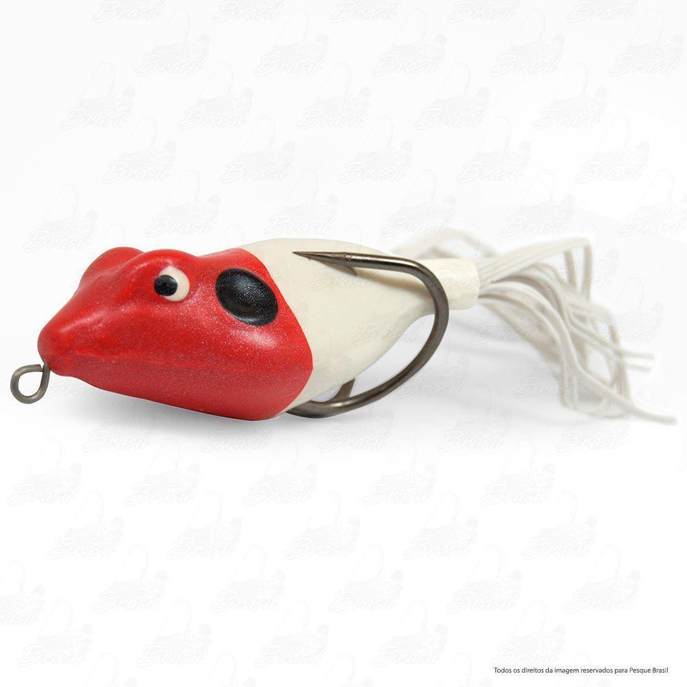 Isca Artificial Speed Bad da Bad Line de Borracha com Anti Enrosco Cor SB01 Branco com Cabeça Vermelha