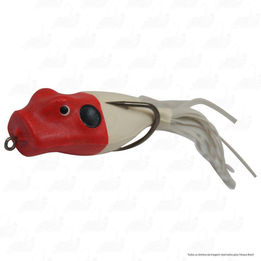 Isca Artificial Speed Popper Bad Line de Borracha com Anti Enrosco Cor SP01 Branco com Cabeça Vermelha