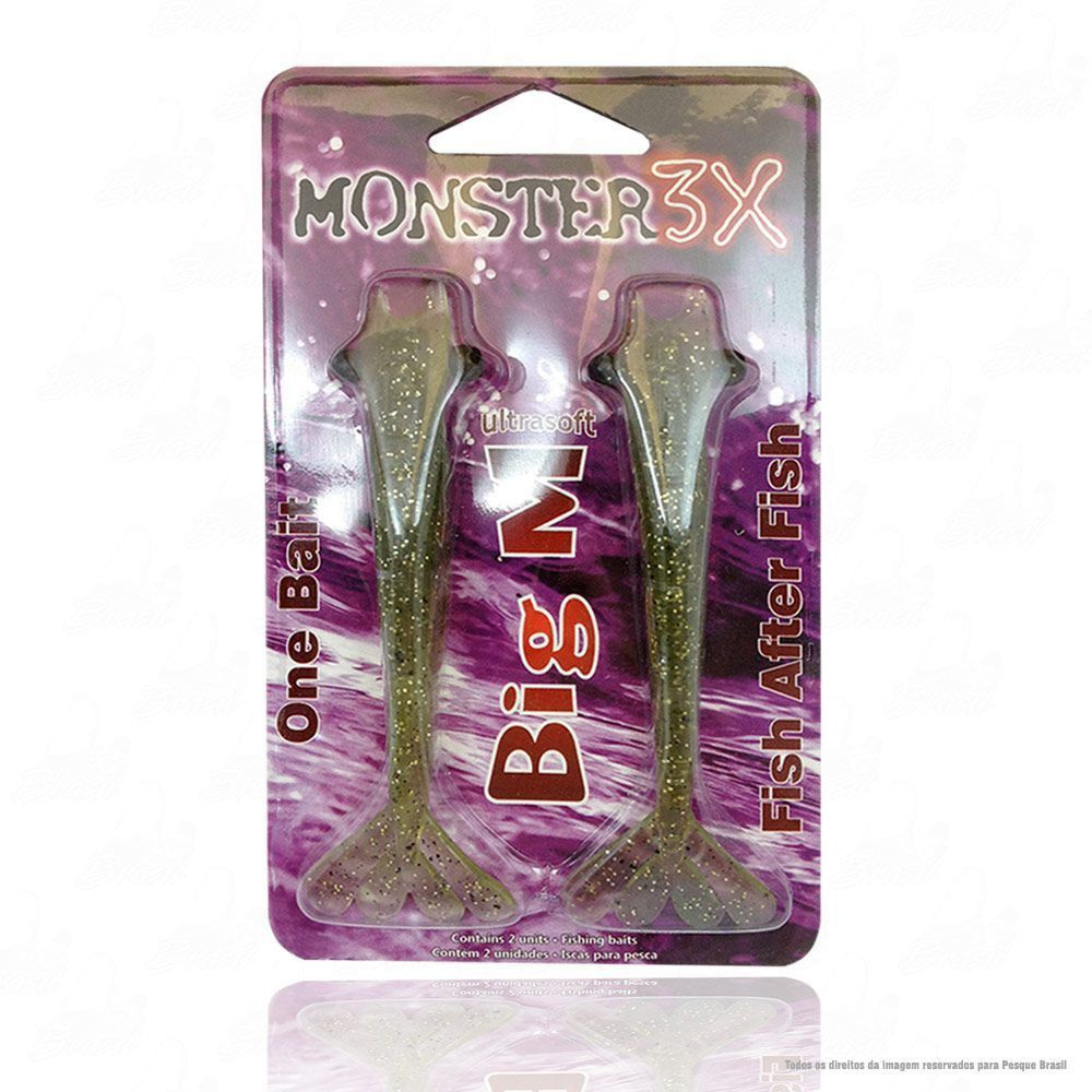 Isca Big M Ultrasoft One Bait Monster 3x 12 cm Cor Musgo 007
