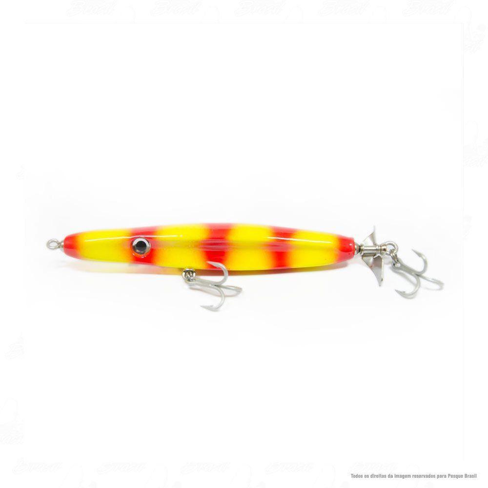 Isca JennerLure TucunaRex 140mm Cor 26 Brilho Amarelo Traços Vermelhos
