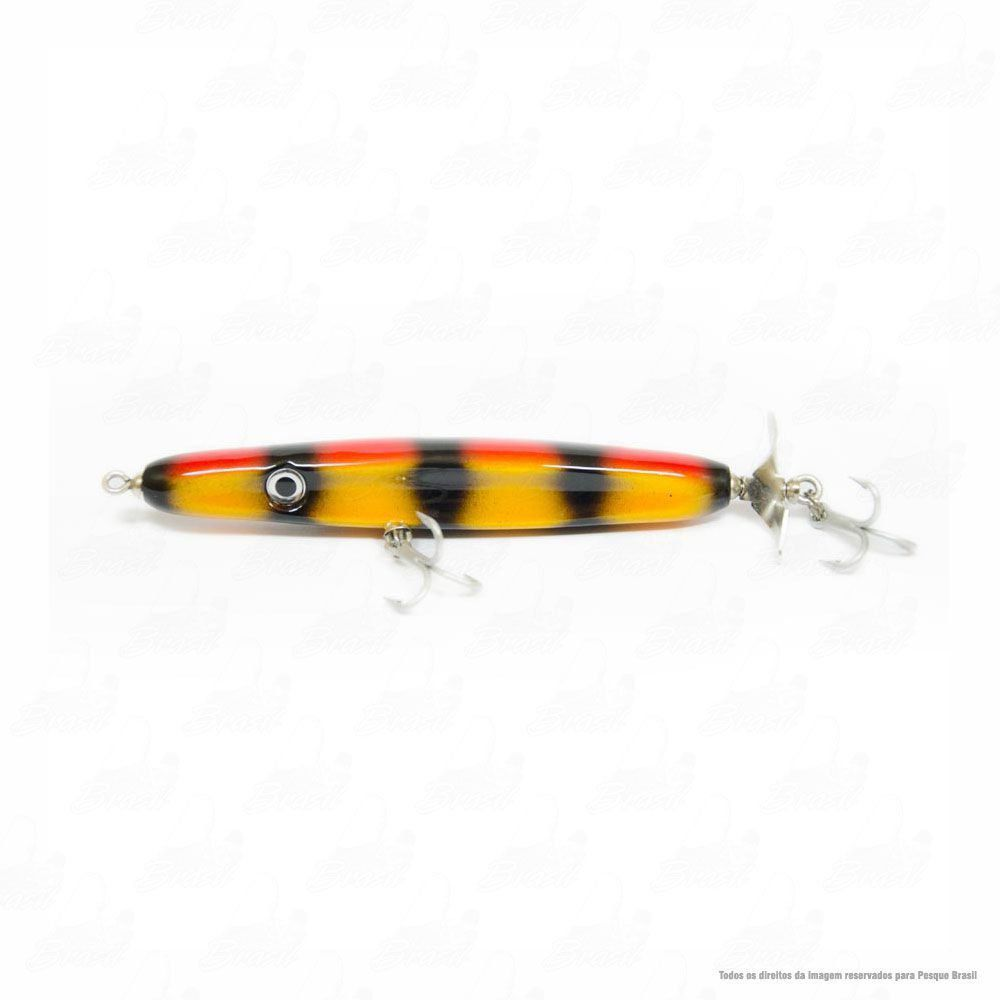 Isca JennerLure TucunaRex 140mm Cor 14 Brilho Vermelho Traços Pretos Barriga Amarela
