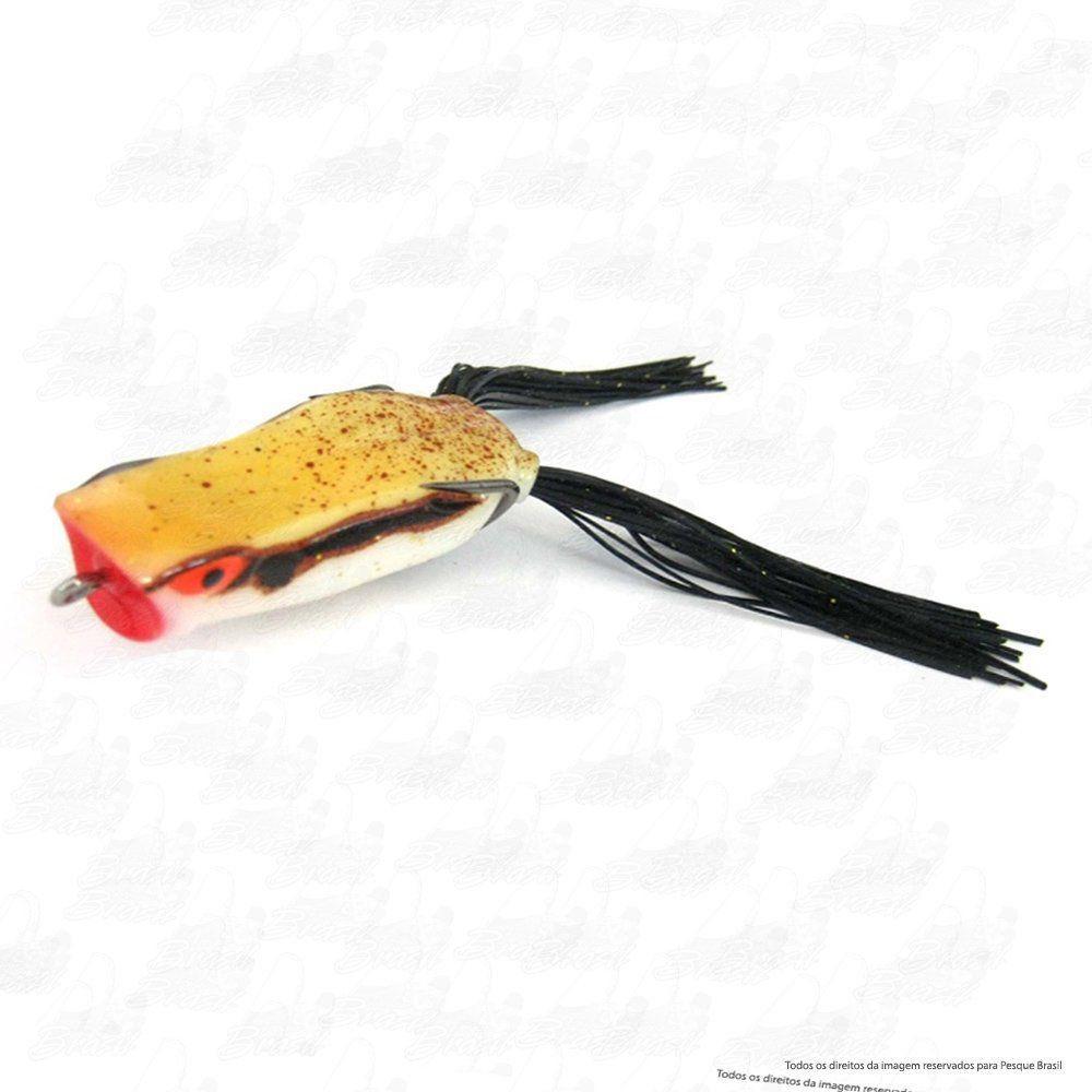 Isca Marine Sports Art Popper Frog Sapinho Cor 180 Amarelo com Gliter Dorso Branco