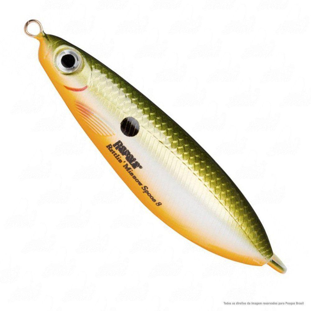 Isca Rapala Colher Rattlin Minnow Spoon RMSR08 8cm Peso 16g Cor RFSH Redfin Shiner Nado Meia Água
