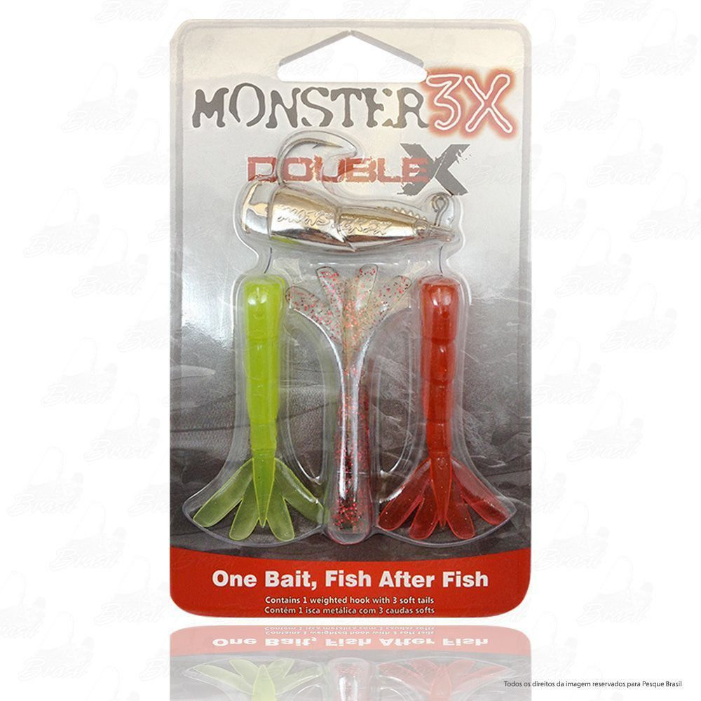 Isca Soft Double X Monster 3x Camarão Artificial Articulado e Jig Head de 17g Com Rattlin Tamanho 12cm Combo 2 Cores Mellow, Ultra Red, Red