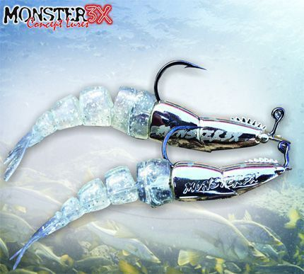 Isca Soft Double X Monster 3x Camarão Artificial Articulado e Jig Head de 17g Com Rattlin Tamanho 12cm Combo 2 Cores Mellow, Ultra Red, Red