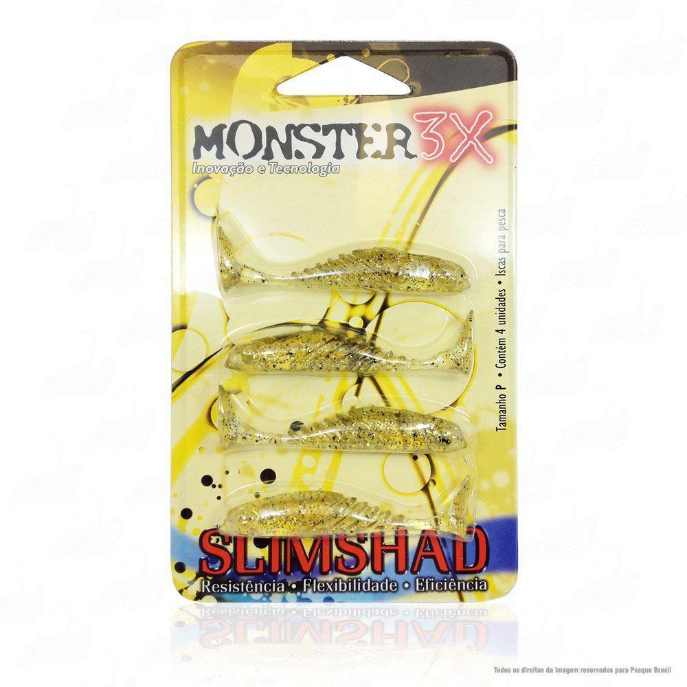 Isca Soft Monster 3x Slim Shad 2.7 polegadas 7cm Cor Chá Dourado 017