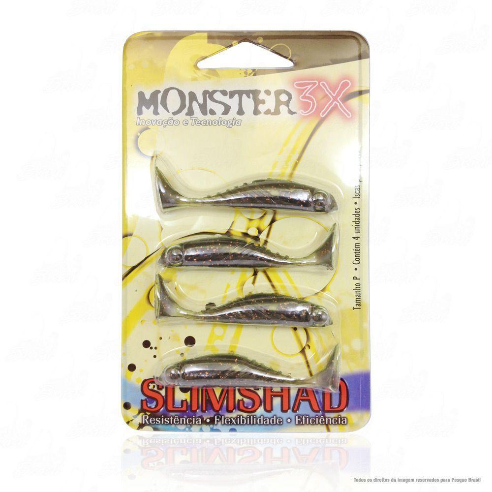 Isca Soft Monster 3x Slim Shad 2.7 polegadas 7cm Cor Ferrinho Red 029