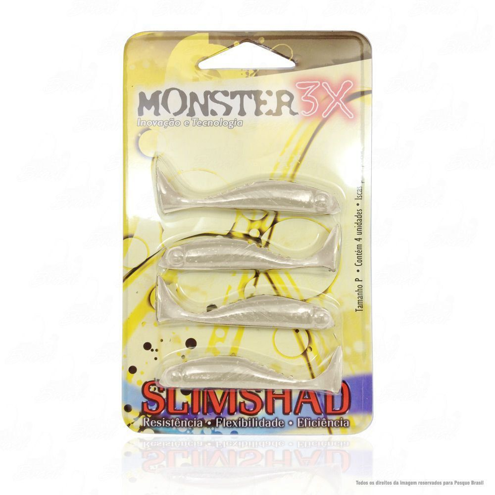 Isca Soft Monster 3x Slim Shad 2.7 polegadas 7cm Cor Manjuba 009