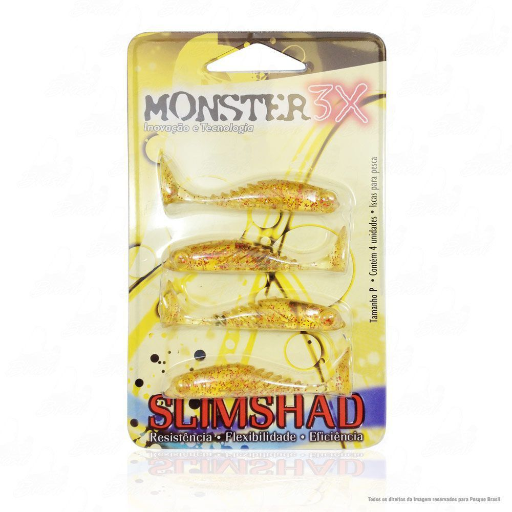 Isca Soft Monster 3x Slim Shad 2.7 polegadas 7cm Cor Red Chá 020