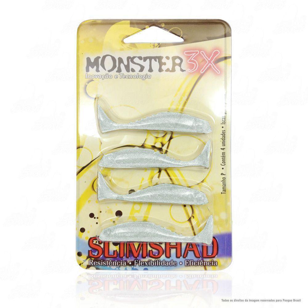 Isca Soft Monster 3x Slim Shad 2.7 polegadas 7cm Cor Silver 030