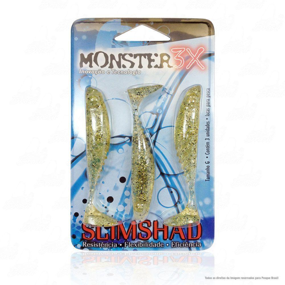 Isca Soft Monster 3x Slim Shad 3.7 polegadas 9cm Cor Chá Dourado 017