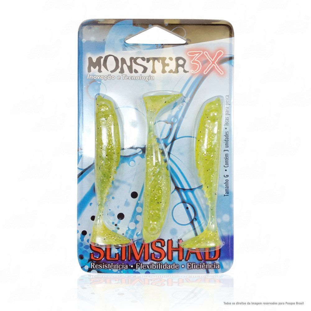 Isca Soft Monster 3x Slim Shad 3.7 polegadas 9cm Cor Chart 024