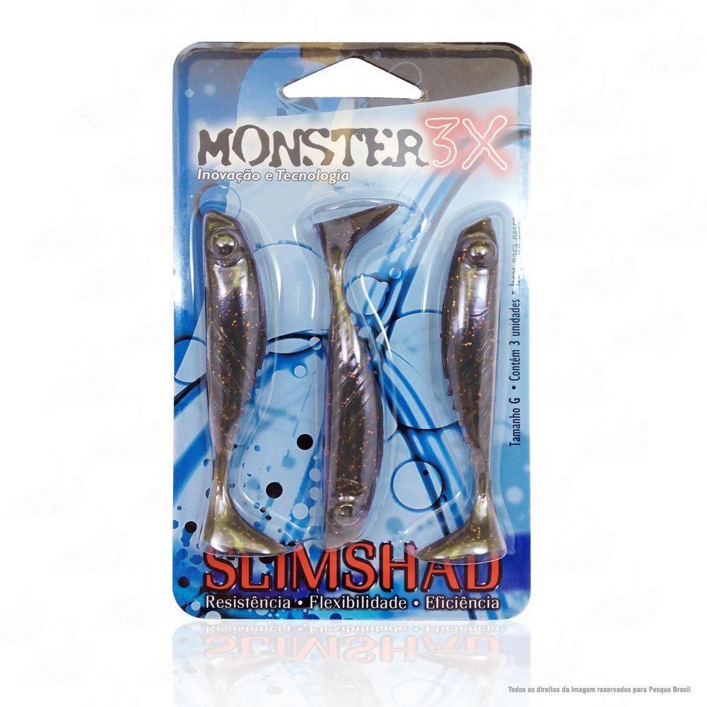 Isca Soft Monster 3x Slim Shad 3.7 polegadas 9cm Cor Ferrinho Red 029