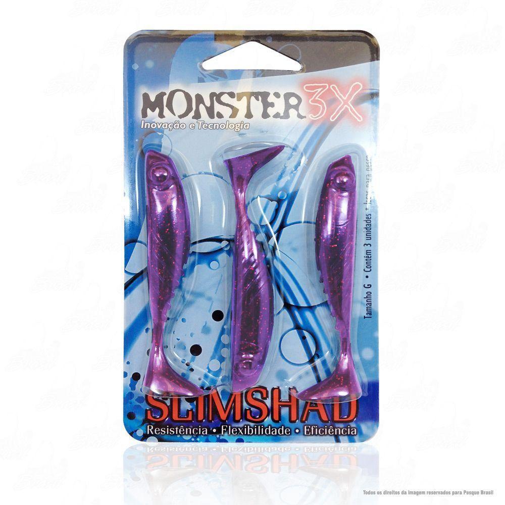 Isca Soft Monster 3x Slim Shad 3.7 polegadas 9cm Cor Purple 005