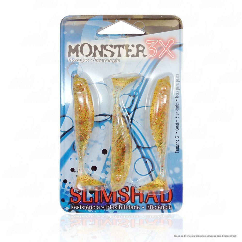 Isca Soft Monster 3x Slim Shad 3.7 polegadas 9cm Cor Red Chá 020
