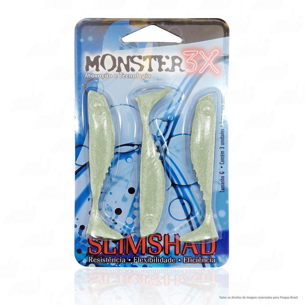 Isca Soft Monster 3x Slim Shad 3.7 polegadas 9cm Cor Silver 030