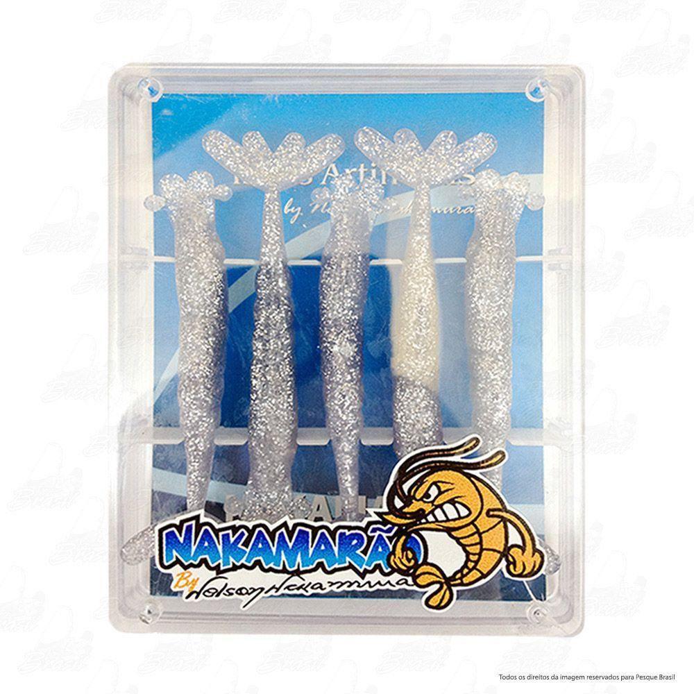 Isca Soft Nakamarão o Camarão Artificial do Nelson Nakamura Tamanho 5,5cm Cor 801 Prata Cartela com 5 unidades
