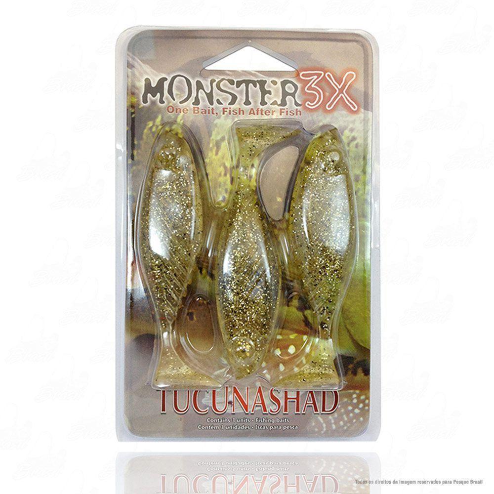 Isca Tucuna Shad Soft Monster 3x 10 cm Cor Chá Dourado 017 Tucunashad
