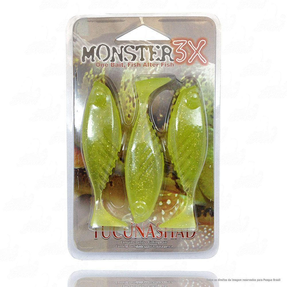 Isca Tucuna Shad Soft Monster 3x 10 cm Cor Chart 024 Tucunashad
