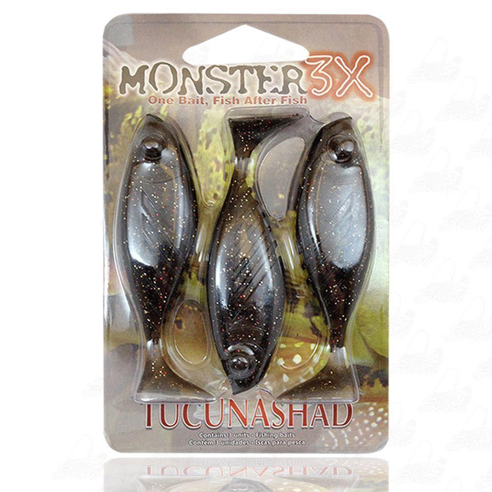 Isca Tucuna Shad Soft Monster 3x 10 cm Cor Natural 037 Tucunashad
