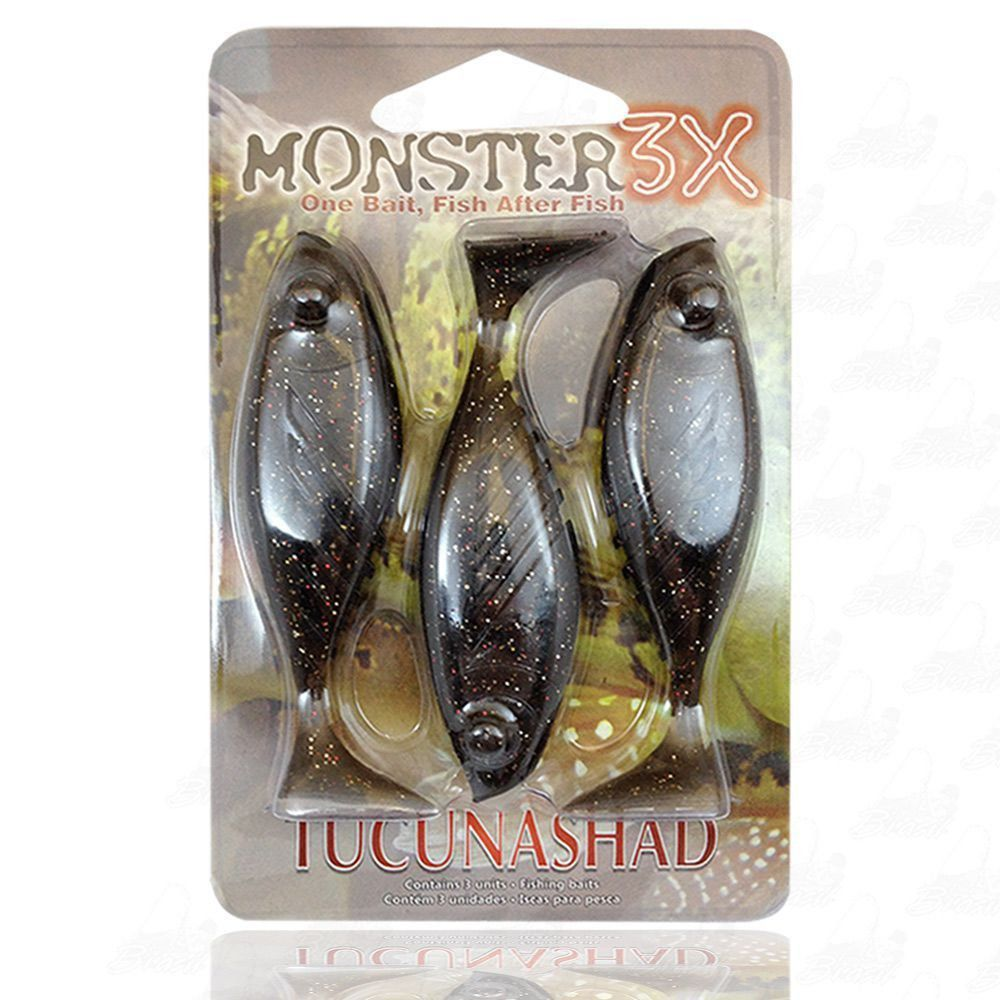 Isca Tucuna Shad Soft Monster 3x 10 cm Cor Natural 037 Tucunashad