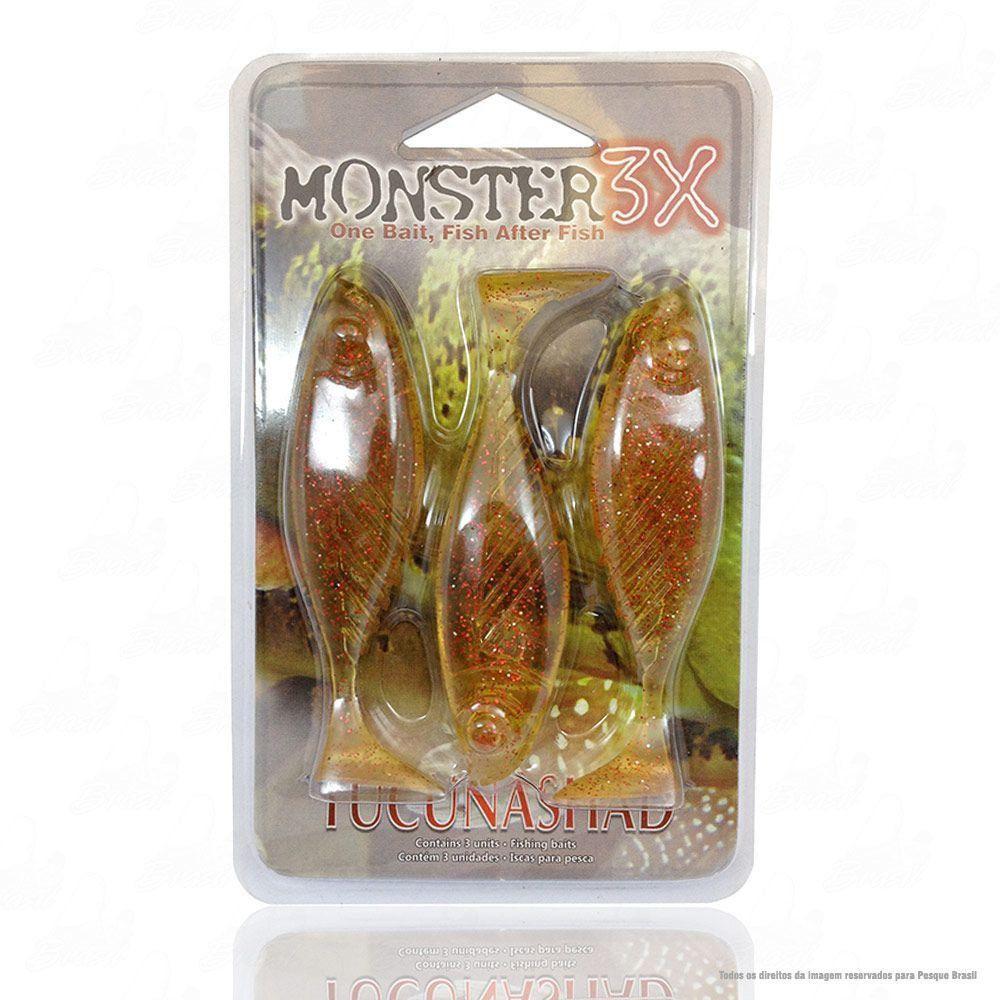 Isca Tucuna Shad Soft Monster 3x 10 cm Cor Red Chá 020 Tucunashad