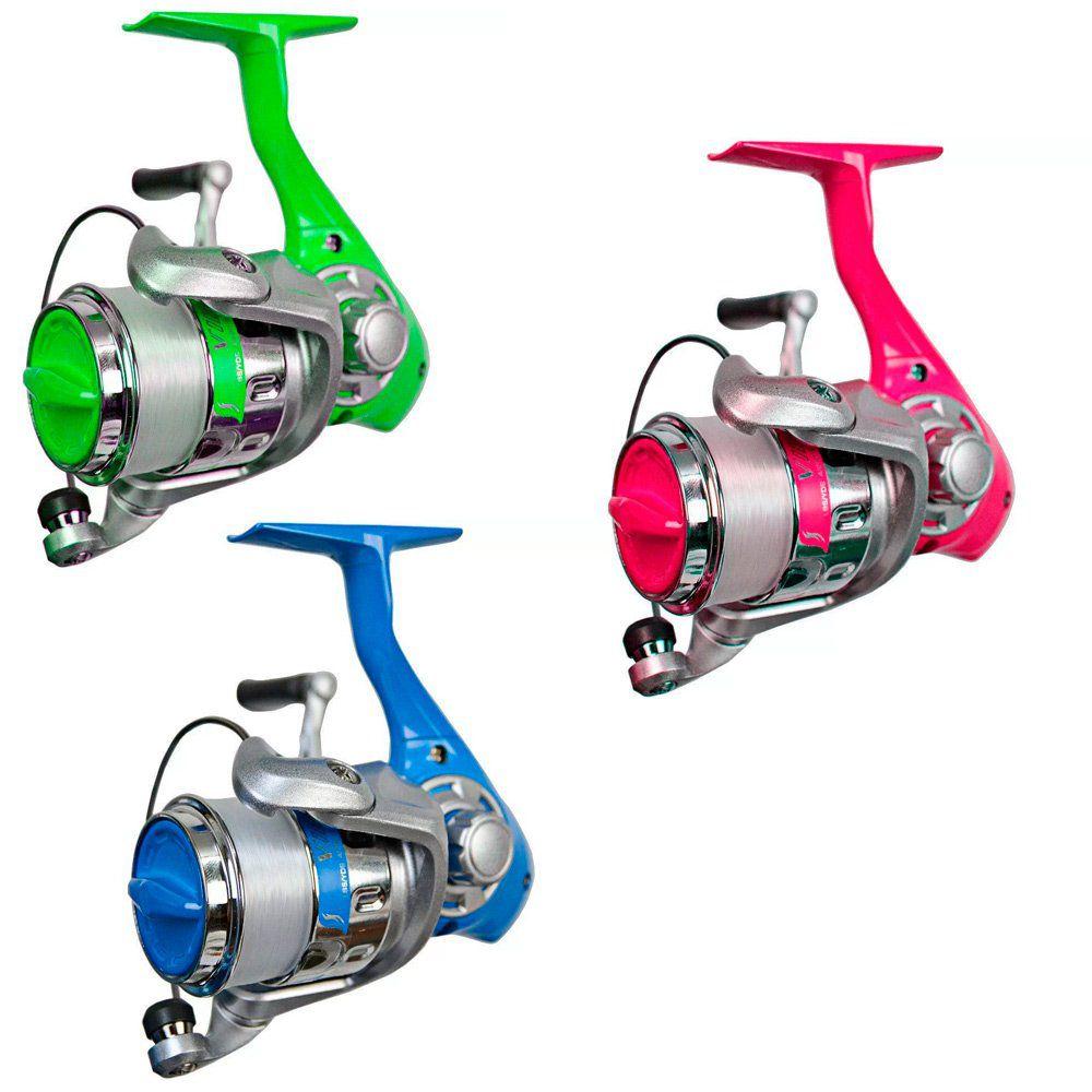 Kit 3 Molinetes de Pesca Colorido Okuma Vibe 25 Com Linha