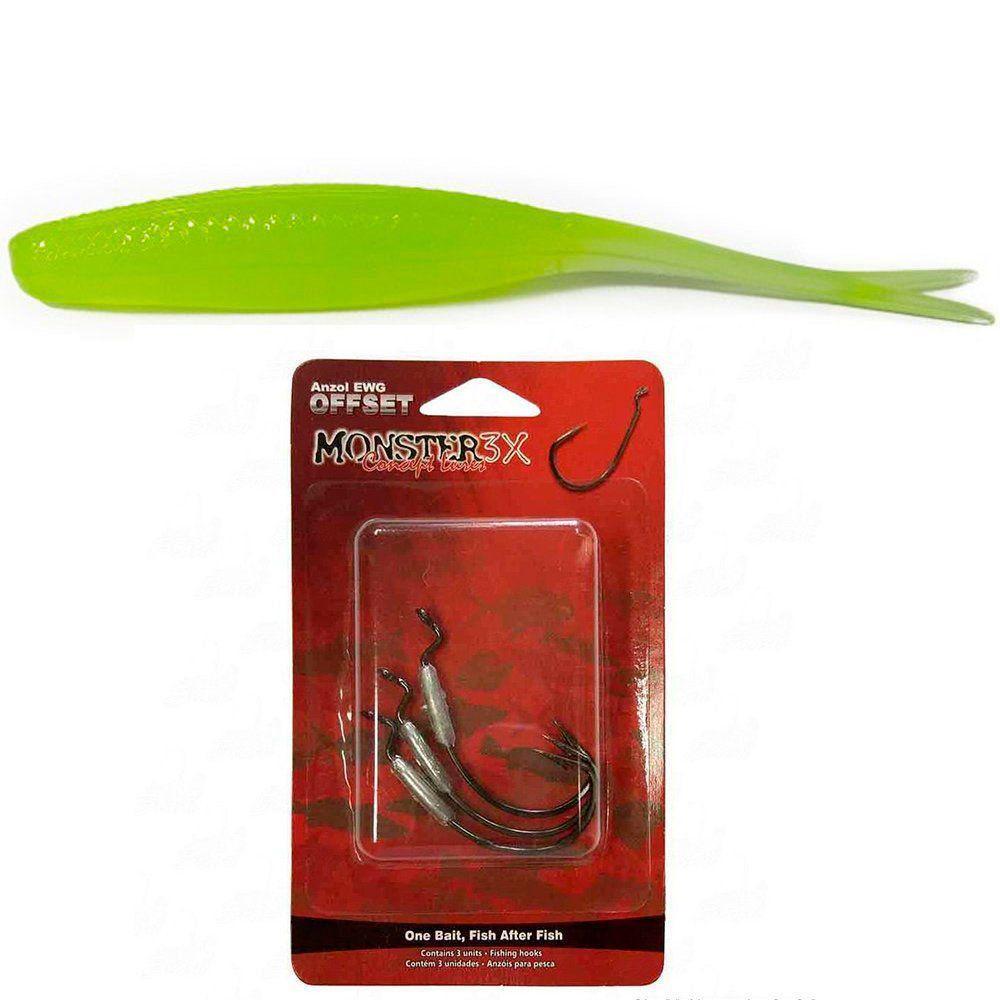 Kit de Isca Soft Mosnter 3x New Flat Soft Bass 12cm + Anzol Ofset Lastreado 3/0 EWG 2,5g