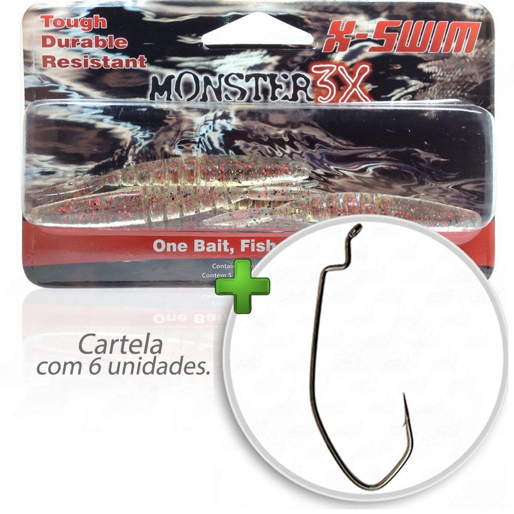 Kit Isca Soft Monster 3x X-Swim 12cm Cor Red Ghost 008 com Anzol Owner Offset Down 2/0 Para Traíras e Tucunarés