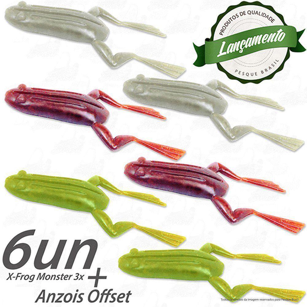 Kit Isca X-Frog Sapinho Monster 3x 6un + Anzol Offset 3/0 5 Unidades