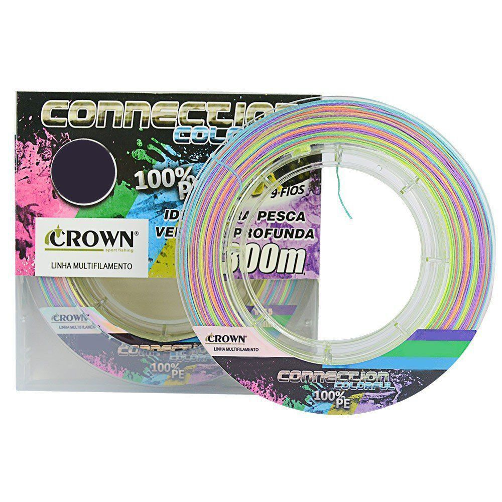 Kit Linha de Pesca Crown Connection Multifilamento 9 Fios Colorida 0,43mm 90Lbs 300M 2un