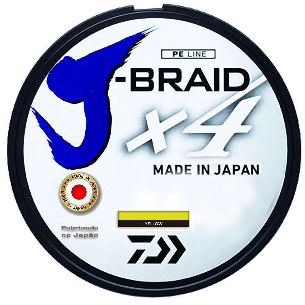 Kit Linha de Pesca Daiwa J-Braid x4 Multifilamento 4 Fios Trançados Yellow 0,33mm 50lb 135m 2un