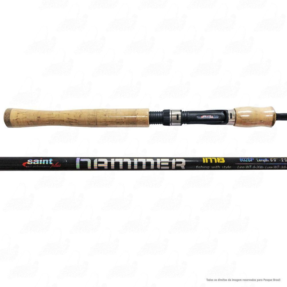 Kit de Pesca Saint Plus Molinete Saturno 4000 e Vara Hammer LBS 602 SP 1,80m 8-20lb 2 Partes