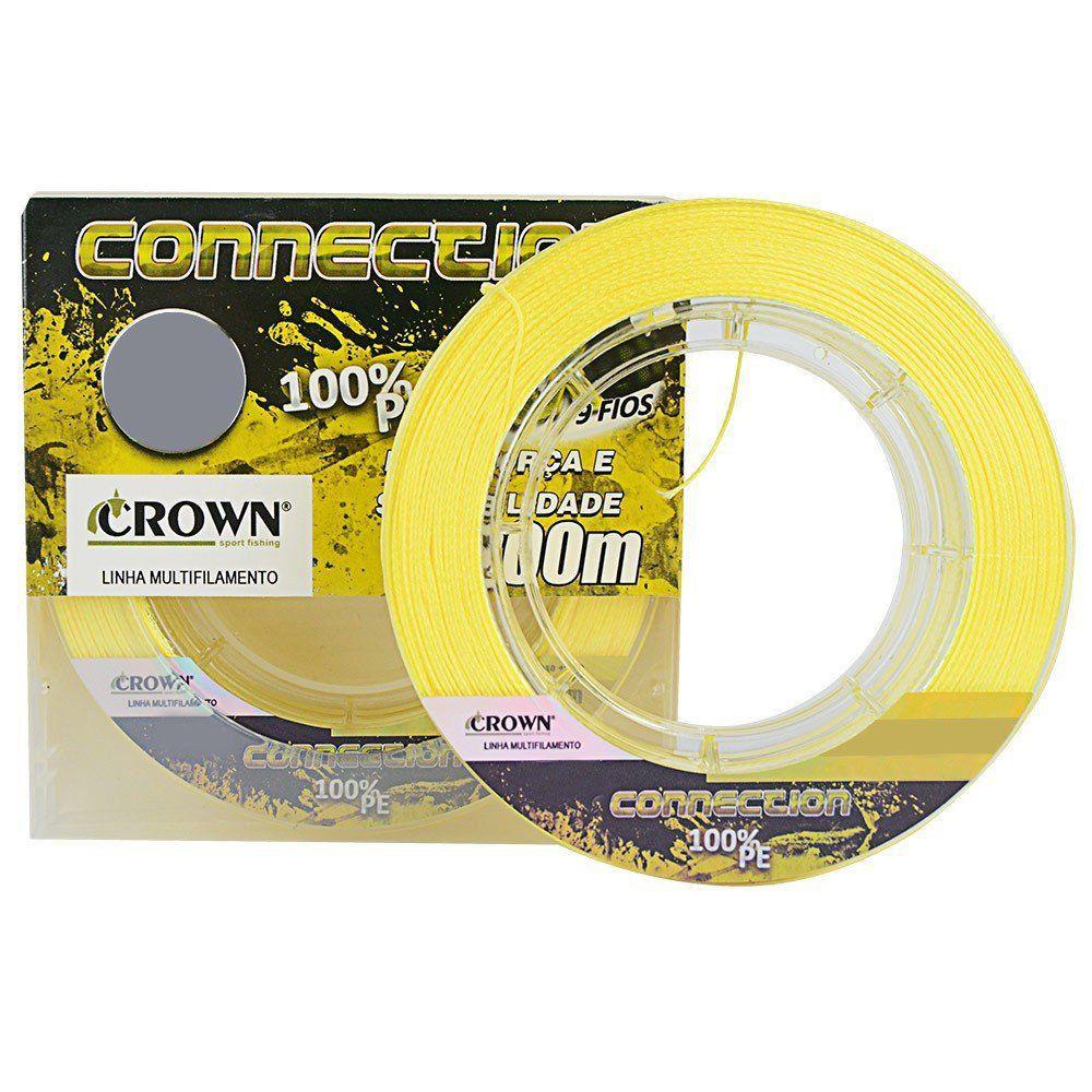 Linha de Pesca Crown Connection Multifilamento 9 Fios Amarelo 0,47mm 100Lbs 200M