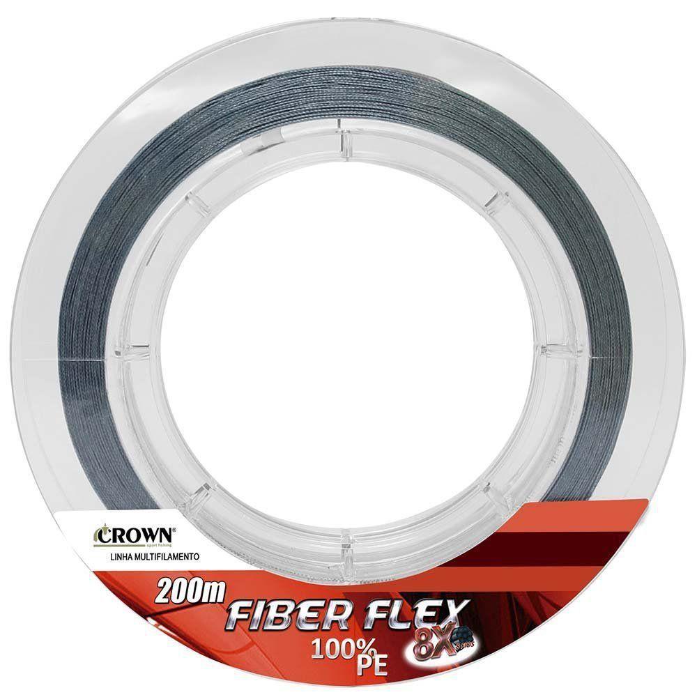 Linha de Pesca Crown Fiber Flex Multifilamento 8x 0,50mm 100Lbs 200M