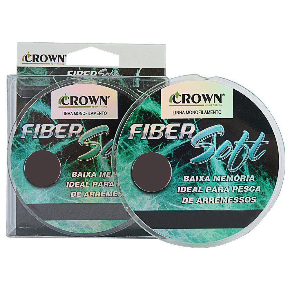 Linha de Pesca Crown Fiber Soft Monofilamento Verde 0,28mm 16Lbs 250M