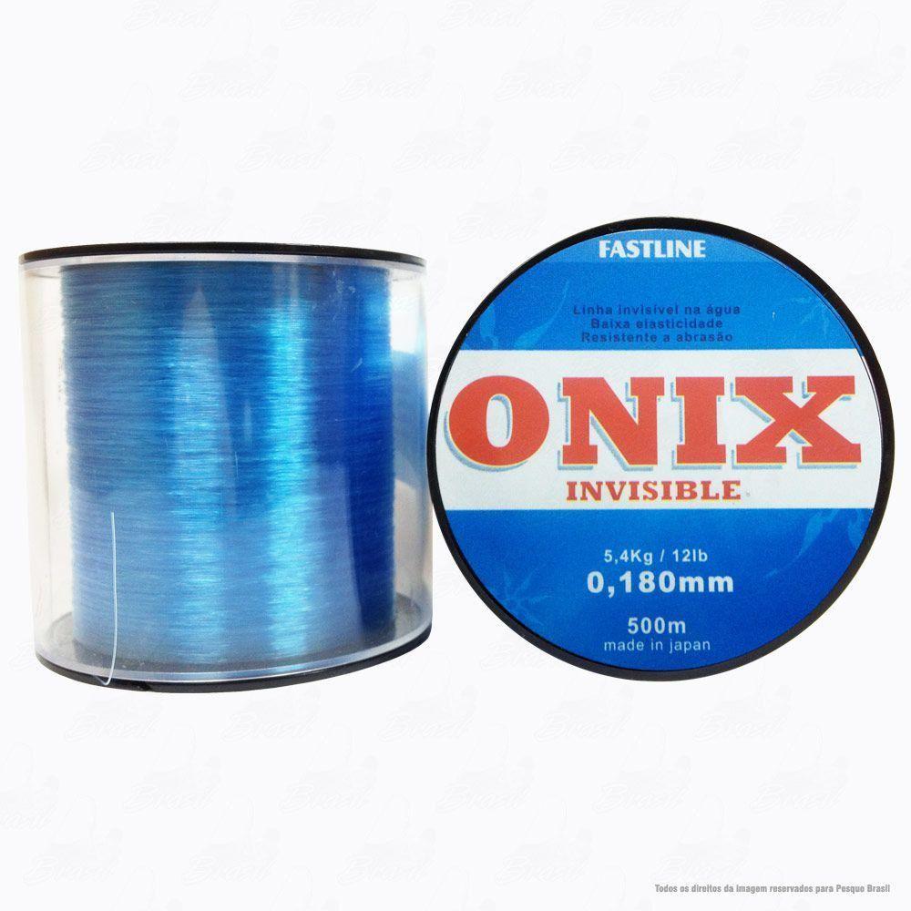 Linha Fastline Onix Invisible Azul 0,180mm 12LB - 5,4kg Nylon 500M
