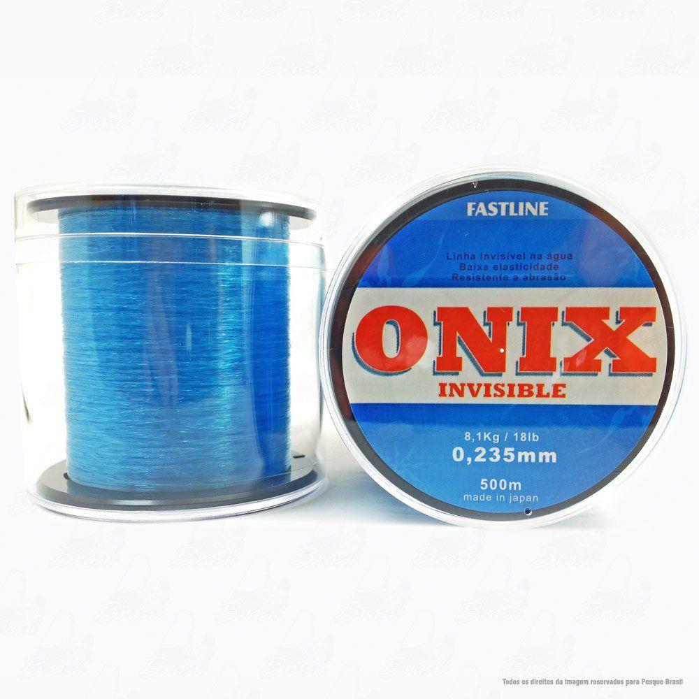 Linha Fastline Onix Invisible Azul 0,235mm 18LB 8,1kg Nylon 500M
