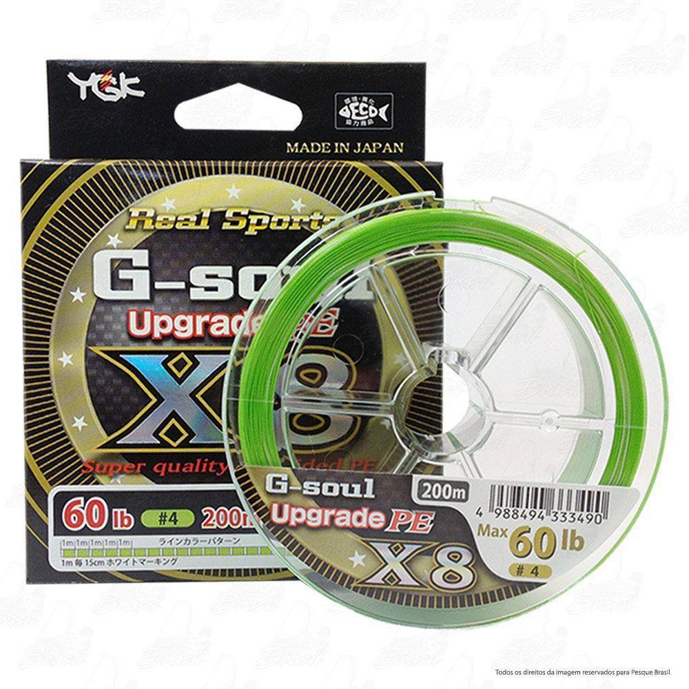 Linha Multifilamento G Soul Upgrade PE X8 Real Sports YGK 8 Fios 0,35mm 60lb 200 metros