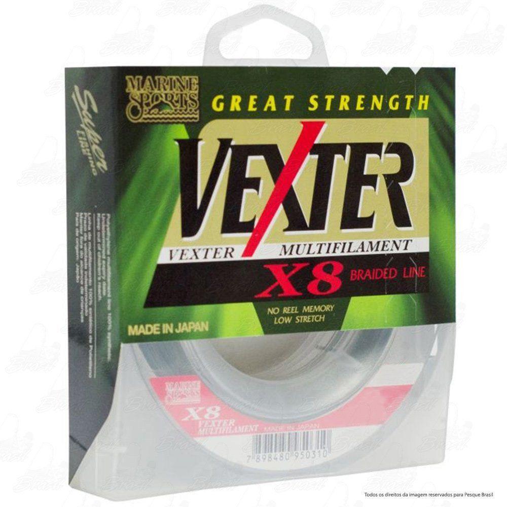 Linha Multifilamento Vexter X8 8 Fios Trançados Marine Sports 250m Green 0,48mm 100LB
