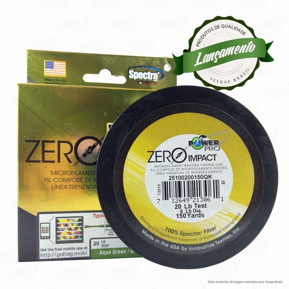 Linha Power Pro Zero Impact Multifilamento 150YDS (verde água) 0,23mm 20Lbs - 9Kg 135m