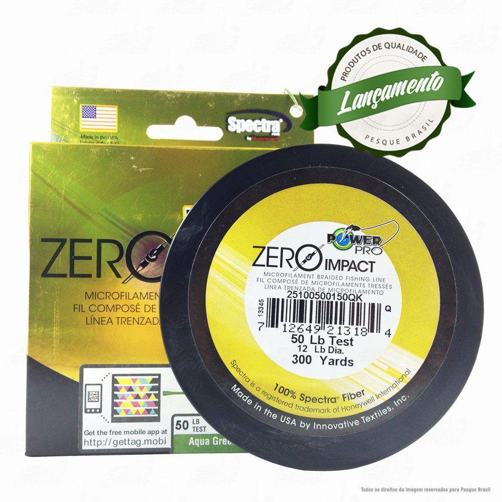 Linha Power Pro Zero Impact Multifilamento 300YDS (verde água) 0,36mm 50Lbs 4 Fios - 23Kg 275m