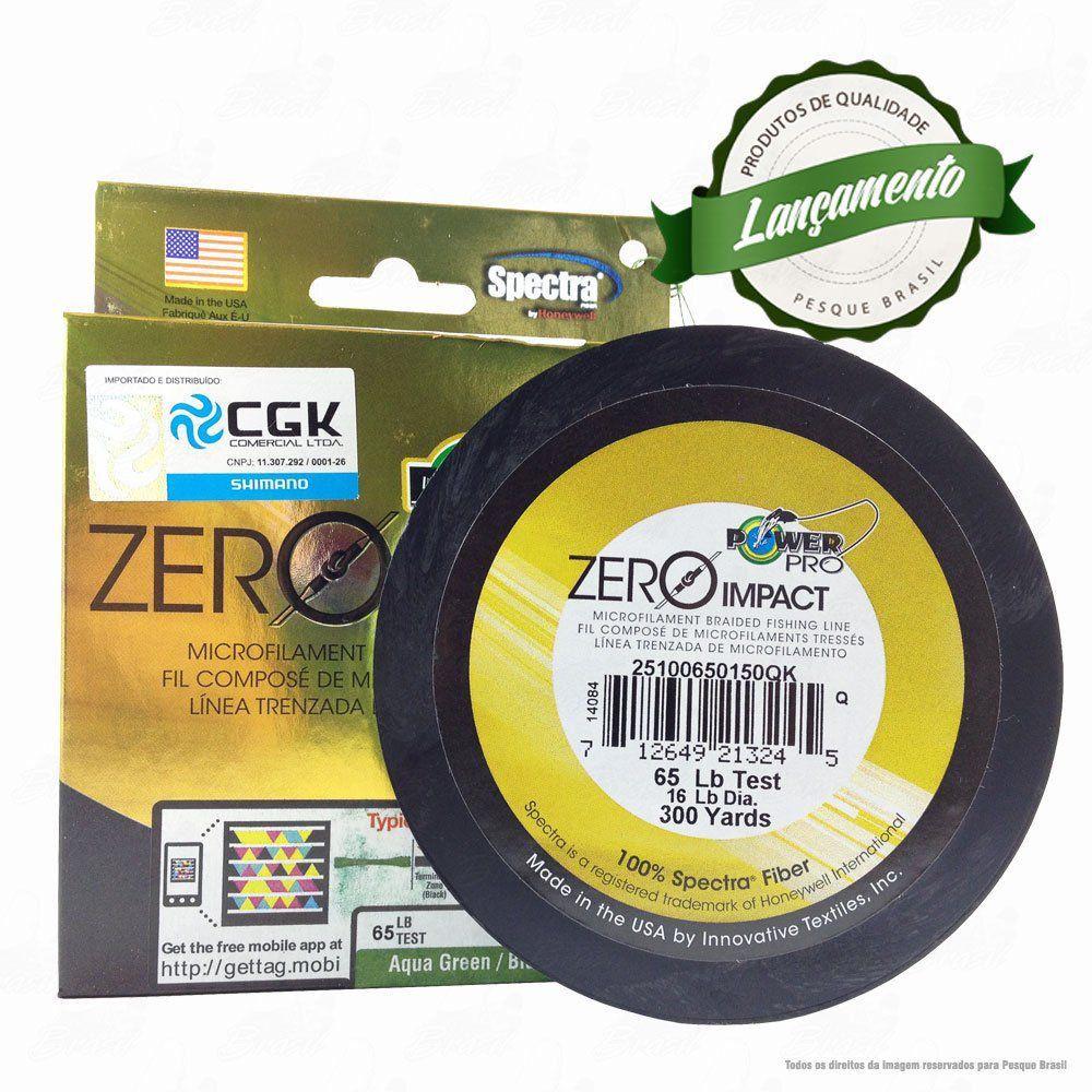 Linha Power Pro Zero Impact Multifilamento 300YDS (verde água) 0,41mm 65Lbs 4 Fios - 30Kg 275m
