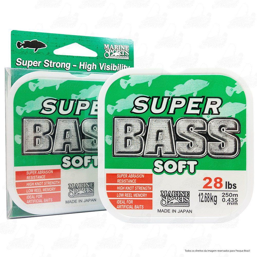 Linha Super Bass Green (verde) Marine Sports 0,43mm 28lb Monofilamento 250m