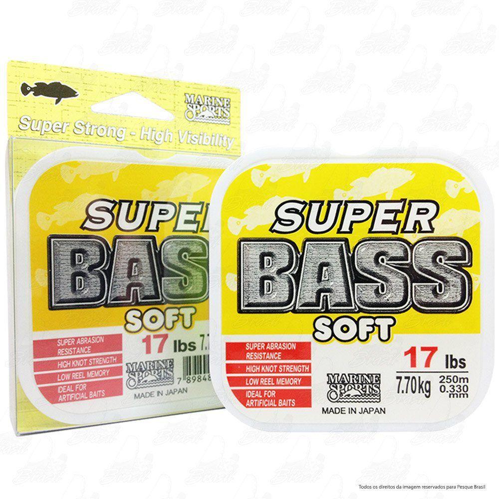 Linha Super Bass Yellow (amarela) Marine Sports 0,33mm 17lb Monofilamento 250m