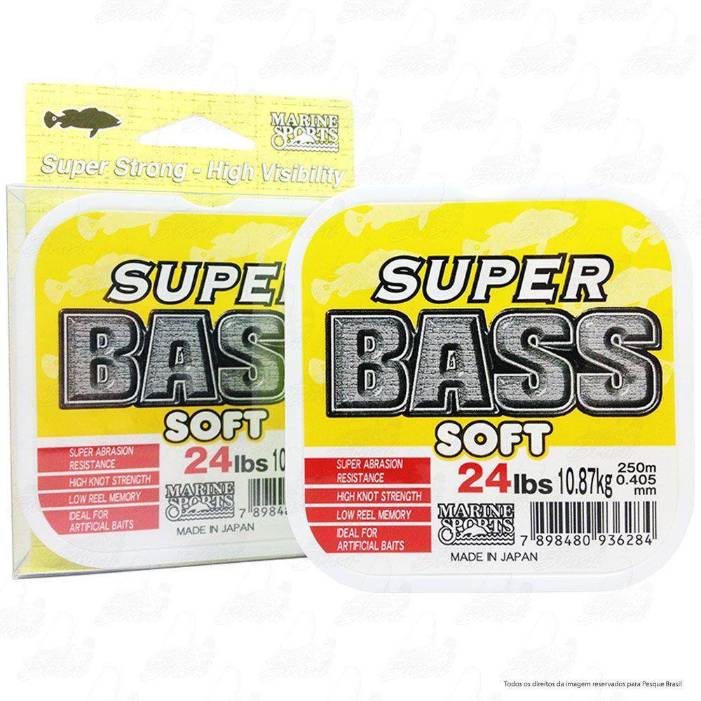 Linha Super Bass Yellow (amarela) Marine Sports 0,405mm 24lb Monofilamento 250m