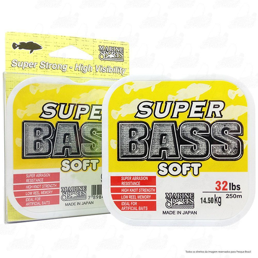 Linha Super Bass Yellow (amarela) Marine Sports 0,470mm 32lb Monofilamento 250m